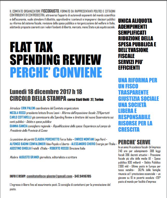 """Lunedì 18 Dicembre, Torino: IDEA Al Convegno """"Flat Tax"""